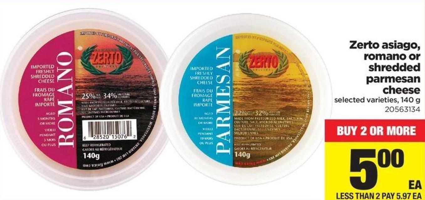 Zerto Asiago - Romano Or Shredded Parmesan Cheese - 140 g