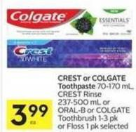 Crest or Colgate Toothpaste