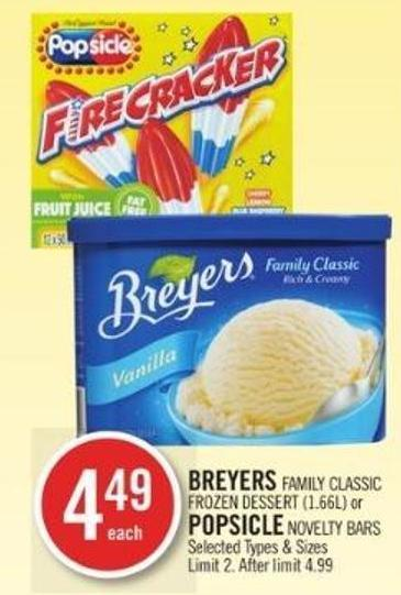 Breyers Family Classic Frozen Dessert (1.66l) or Popsicle Novelty Bars