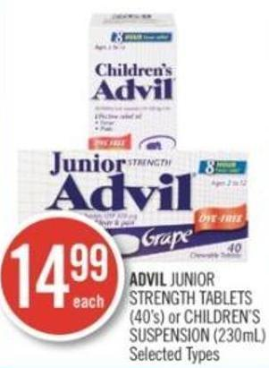 Advil Junior Strength Tablets (40's) or Children's Suspension (230ml)