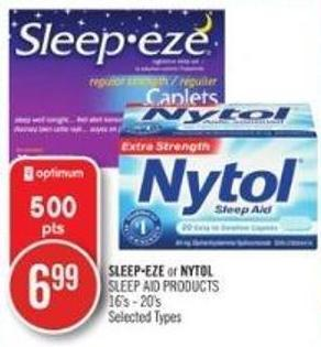 Sleep-eze or Nytol Sleep Aid Products 16's - 20's