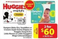 Pampers Baby-dry - Swaddlers or Cruisers Super Econo Diapers