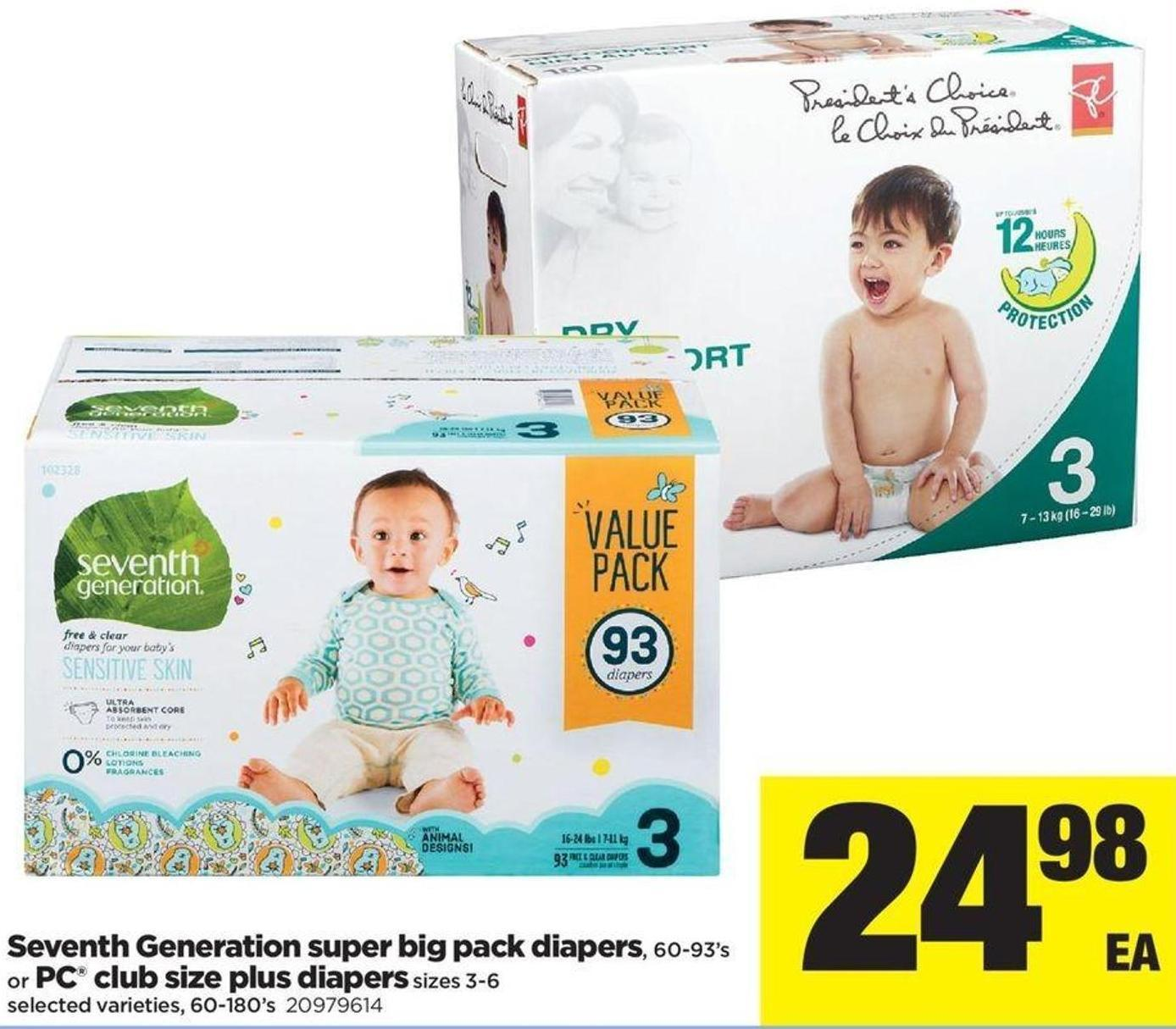 Seventh Generation Super Big Pack Diapers - 60-93's or PC Club Size Plus Diapers Sizes 3-6 - 60-180's