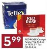 Red Rose Orange Pekoe Tea 144 Pk or Tetley Tea 80-144 Pk