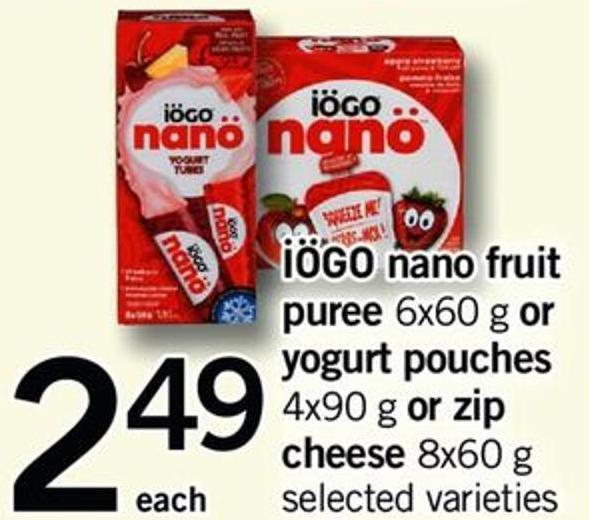 Iögo Nano Fruit Puree - 6x60 G Or Yogurt Pouches - 4x90 G Or Zip Cheese - 8x60 G