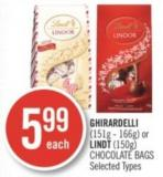 Ghirardelli (151g - 166g) or Lindt (150g) Chocolate Bags