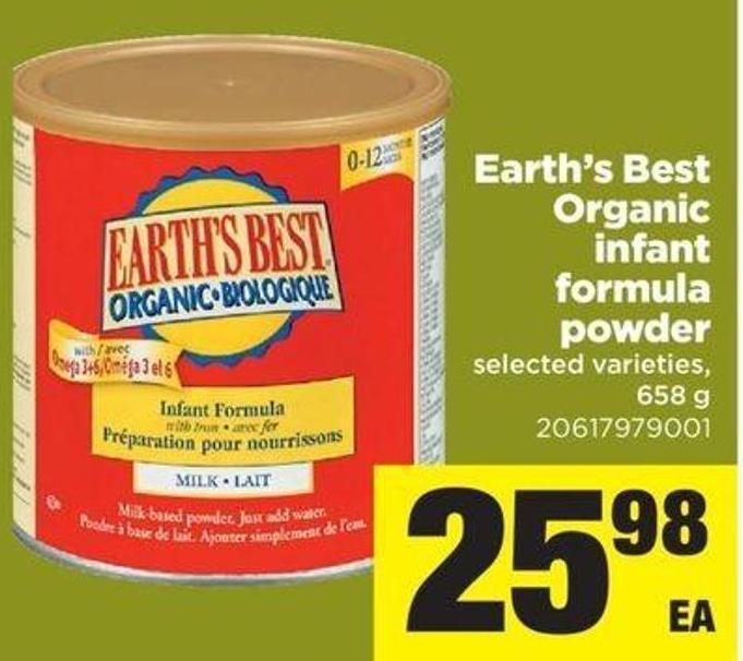 Earth's Best Organic Infant Formula Powder - 658 G