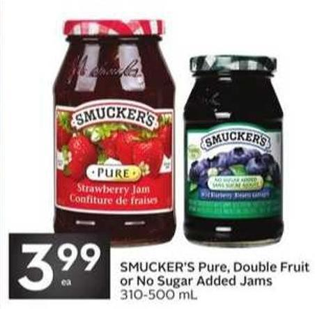 Smucker's Pure - Double Fruit or No Sugar Added Jams
