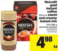 Nescafé Gold Instant Coffee 100 G Or Sweet And Creamy Instant Mix 342-396 G