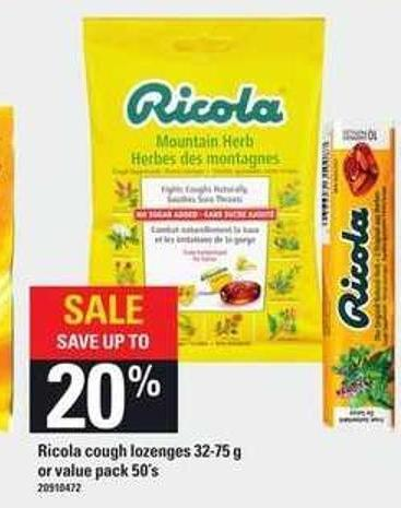 Ricola Cough Lozenges - 32-75 g Or Value Pack - 50's