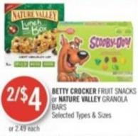 Betty Crocker Fruit Snacks or Nature Valley Granola Bars
