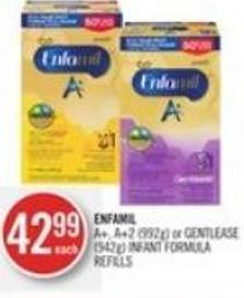 Enfamil A+ - A+2(992g) or Gentlease (942g) Infant Formula Refills