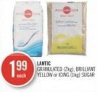Lantic Granulated (2kg) - Brilliant Yellow or Icing (1kg) Sugar