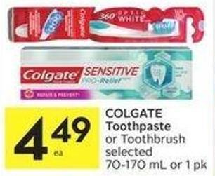 Colgate Toothpaste or Toothbrush Selected 70-170 mL or 1 Pk