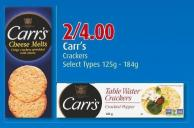Carr's Crackers Select Types 125g - 184g