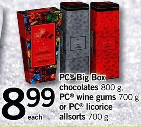 PC Big Box Chocolates 800 - G PC Wine Gums - 700 G Or PC Licorice Allsorts - 700 G