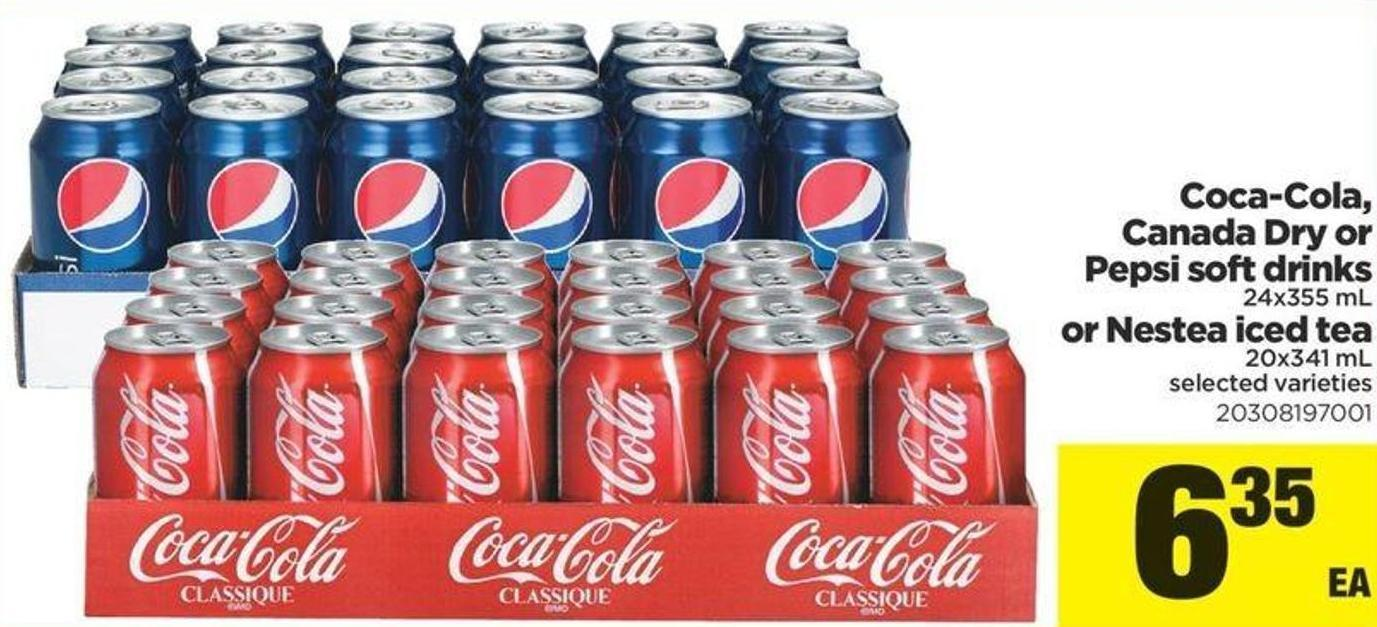 Coca-cola - Canada Dry Or Pepsi Soft Drinks 24x355 Ml Or Nestea Iced Tea 20x341 Ml