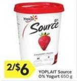 Yoplait Source 0% Yogurt 650 g