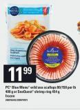 PC Blue Menu Wild Sea Scallops 80/150 Per Lb 400 g Or Seaquest Shrimp Ring 454 g