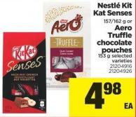 Nestlé Kit Kat Senses 157/162 G Or Aero Truffle Chocolate Pouches 153 G