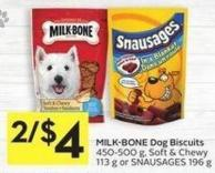 Milk-bone Dog Biscuits 450-500 g - Soft & Chewy 113 g or Snausages 196 g