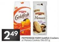 Pepperidge Farm Goldfish Crackers or Monaco Cookies 156-227 g
