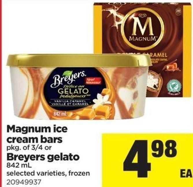 Magnum Ice Cream Bars - Pkg Of 3/4 Or Breyers Gelato - 842 Ml