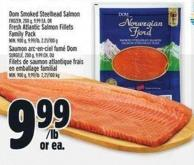 Dom Smoked Steelhead Salmon Frozen - 200 G - Fresh Atlantic Salmon Fillets Family Pack Min. 900 G - 9.99/lb - 2.21/100 g