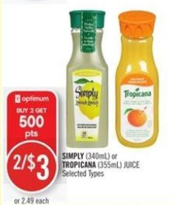 Simply (340ml) or Tropicana (355ml) Juice