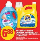 Tide Simply Liquid Laundry Detergent - 4.08 L - Fleecy Fabric Softener - 4 L or Sheets - 200's