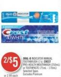 Oral-b Indicator Manual Toothbrush (1's) - Crest Pro-health Mouthwash (250ml) or Toothpaste (75ml - 170ml)