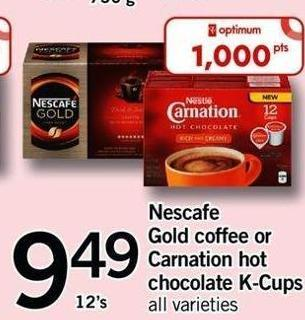 Nescafé Gold Coffee Or Carnation Hot Chocolate K-cups - 12's