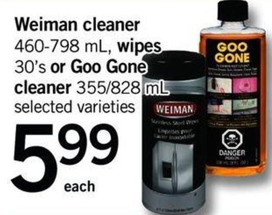 Weiman Cleaner - 460-798 Ml - Wipes - 30's Or Goo Gone Cleaner - 355/828 Ml