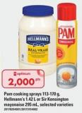 Pam Cooking Sprays - 113-170 G - Hellmann's - 1.42 L Or Sir Kensington Mayonaise - 295 Ml