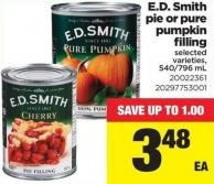 E.d. Smith Pie Or Pure Pumpkin Filling - 540/796 Ml