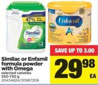 Similac Or Enfamil Formula Powder With Omega - 550-730 g