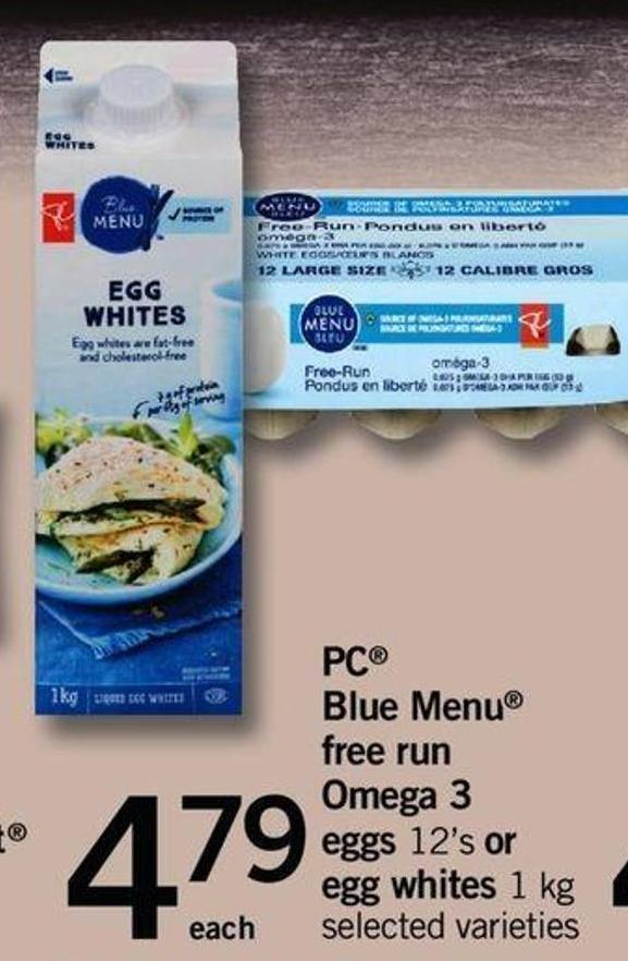 PC Blue Menu Free Run Omega 3 Eggs 12's Or Egg Whites 1 Kg