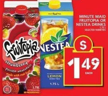 Minute Maid Fruitopia Or Nestea Drinks