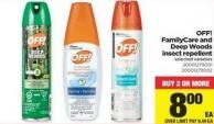 Off! Familycare And Deep Woods Insect Repellent