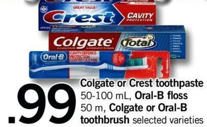Colgate Or Crest Toothpaste - 50-100 Ml - Oral-b Floss - 50 M - Colgate Or Oral-b Toothbrush