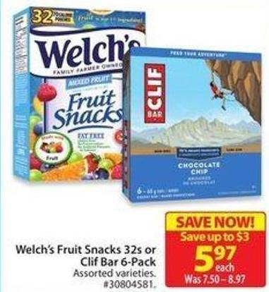 Welch's Fruit Snacks 32s or Clif Bar 6-pack