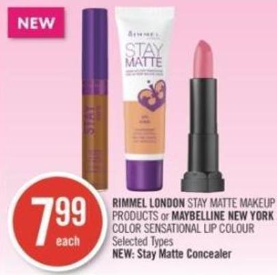 Rimmel London Stay Matte Makeup Products or Maybelline New York Color Sensational Lip Colour