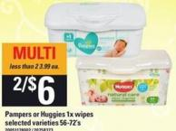 Pampers or Huggies 1x Wipes - 56-72's