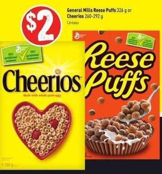 General Mills Reese Puffs 326 g or Cheerios 260-292 g