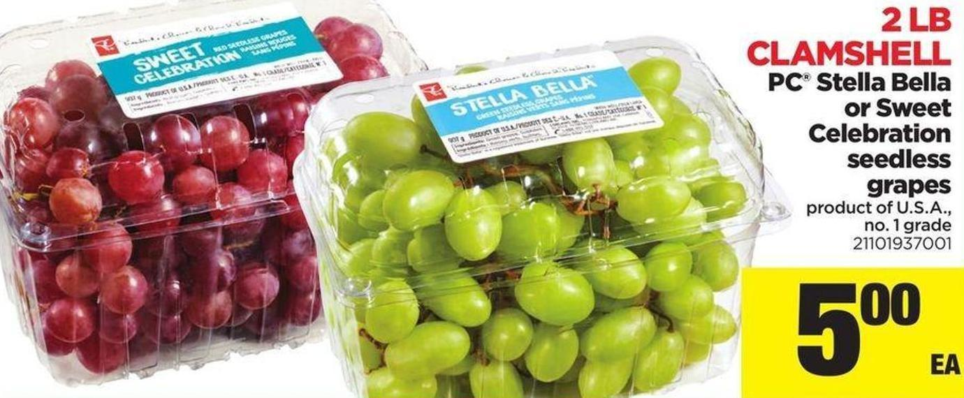 Clamshell PC Stella Bella Or Sweet Celebration Seedless Grapes - 2 Lb