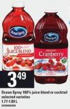 Ocean Spray 100% Juice Blend Or Cocktail - 1.77-1.89 L