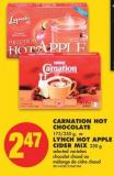 Carnation Hot Chocolate - 175/250 g - or Lynch Hot Apple Cider Mix - 230 g