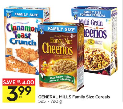 General Mills Family Size Cereals