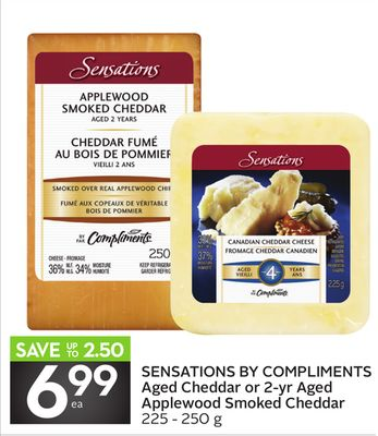 Sensations By Compliments Aged Cheddar or 2-yr Aged Applewood Smoked Cheddar