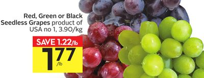 Red - Green or Black Seedless Grapes